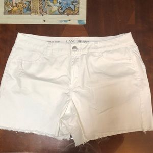 Lane Bryant white denim shorts size 18